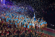 23.07.2014. Glasgow, Scotland. Glasgow Commonwealth Games. The opening ceremony. Team Scotland lap up the occasion
