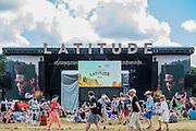 Fans enjoy the sunshine as Michael Kiwanuka plays the Obelisk stage - The 2016 Latitude Festival, Henham Park, Suffolk.