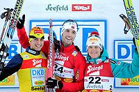 Kombinert<br /> World Cup / Verdenscup<br /> 16.01.2011<br /> Seefeld Østerrike<br /> Foto: Gepa/Digitalsport<br /> NORWAY ONLY<br /> <br /> FIS Weltcup, Siegerehrung. Bild zeigt den Jubel von Jason Lamy Chappuis (FRA), Magnus Moan (NOR) und David Kreiner (AUT).