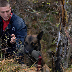 Entraînement des équipes cynophiles de Secouristes Sans Frontières en milieu montagneux, décombres, descentes en rappel et recherche de personne en forêt.<br /> Novembre 2010/ Savoie (73) / FRANCE<br /> Voir le reportage complet (96 photos) http://sandrachenugodefroy.photoshelter.com/gallery/2010-11-Stage-cynophile-de-Secouristes-Sans-Frontieres-Complet/G0000Vy49hR5Df1g/C0000yuz5WpdBLSQ
