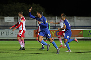 AFC Wimbledon defender Terell Thomas (6) celebrating after scoring goal to make it 3-0 during the EFL Trophy group stage match between AFC Wimbledon and Stevenage at the Cherry Red Records Stadium, Kingston, England on 6 November 2018.