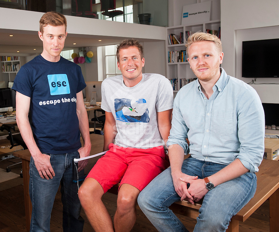 Picture by Daniel Hambury/Stella Pictures Ltd +44 7813 022858<br /> 11/06/2013<br /> L-R<br /> Dom Jackman, Rob Symington and Mikey Howe of Escape the City at their west London office.