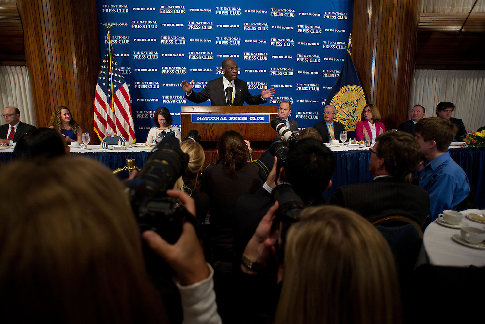 2012 GOP Presidential candidate Herman Cain addresses a reception at the National Press Club on Monday, Oct. 31, 2011 in Washington. (Photo by Jay Westcott/Politico)