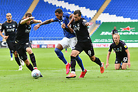 Football - 2019 / 2020 Championship - Cardiff City vs Charlton Athletic<br /> <br /> Nathaniel Mendez-Laing of Cardiff City takes on Jake Forster-Caskey of Charlton & Tom Lockyer of Charlton in front of goal, at the Cardiff City Stadium.<br /> <br /> COLORSPORT/WINSTON BYNORTH