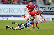 Aled Davies of the Scarlets is tackled by Sam Warburton of the Cardiff Blues (on ground). Rabodirect Pro12 rugby, Scarlets v Cardiff Blues at the Parc y Scarlets in Llanelli, South Wales on Saturday 20th April 2013. pic by Andrew Orchard,  Andrew Orchard sports photography,