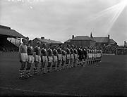 11/09/1960<br /> 09/11/1960<br /> 11 September 1960<br /> Soccer International Ireland v Iceland at Dalymount Park, Dublin. The Team line outs, Ireland on left.