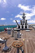 Aft deck  of the battleship Missouri. Battleship Missouri Memorial, Pearl Harbour, Hawaii