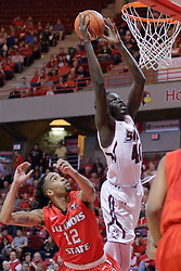 22 February 2017:  Thik Bol extends over Tony Wills(12) to reach the hoop during a College MVC (Missouri Valley conference) mens basketball game between the Southern Illinois Salukis and Illinois State Redbirds in  Redbird Arena, Normal IL