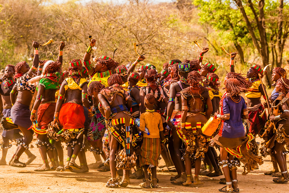 At the Hamer bull jumping ceremony, a rite of passage initiating a boy into manhood, Omo Valley, Ethiopia.