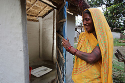 Ram Kumari Sara maintains her home toilet with pride and has won awards for its cleanliness in Ganespur Community of Bastipur NEWAH WASH project Siraha, Udayapur District, Nepal.