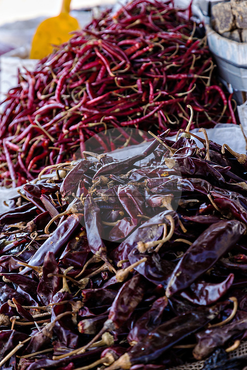 Dried Puya chili pepper at Benito Juarez market in Oaxaca, Mexico.