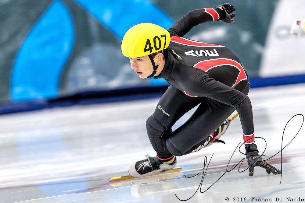 December 17, 2016 - Kearns, UT - Joel Foster skates during US Speedskating Short Track Junior Nationals and Winter Challenge Short Track Speed Skating competition at the Utah Olympic Oval.