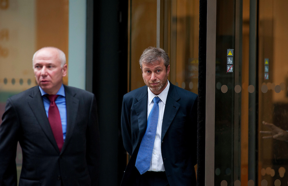 Roman Abramovich Leaving The Royal Courts of Justice at lunch after he started giving his evidence  in Central London, on October 31, 2011. Chelsea Football Club owner Roman Abramovich was accused in a British court Monday of intimidating fellow Russian tycoon Boris Berezovsky into selling him oil company shares at a large discount. Berezovsky, who lives in exile in Britain, accuses Abramovich of breach of trust and breach of contract over the sale of shares in Russian oil company Sibneft.