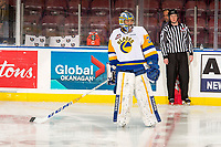 KELOWNA, BC - DECEMBER 01: Dorrin Luding #31 of the Saskatoon Blades skates at centre ice during warm up against the Kelowna Rockets at Prospera Place on December 1, 2018 in Kelowna, Canada. (Photo by Marissa Baecker/Getty Images)