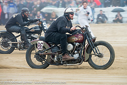 Mike Silvio on his 1944 Harley-Davidson Knucklehead racer up against Nick Toscano on his 1947 Harley-Davidson Flathead at TROG West - The Race of Gentlemen. Pismo Beach, CA, USA. Saturday October 15, 2016. Photography ©2016 Michael Lichter.