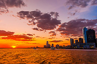 Lower Manhattan at sunset, New York, New York USA.