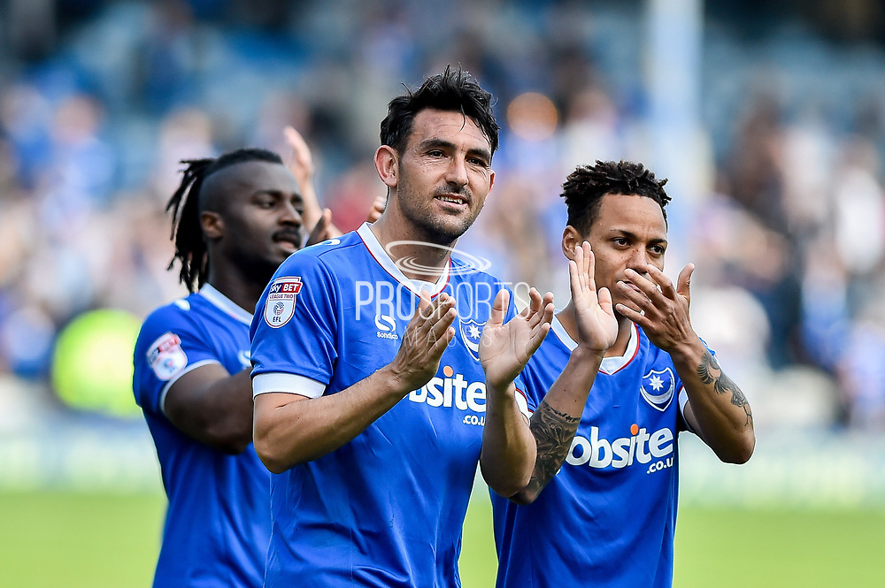Portsmouth Midfielder, Gary Roberts (11) applauds the fans at full time during the EFL Sky Bet League 2 match between Portsmouth and Cambridge United at Fratton Park, Portsmouth, England on 22 April 2017. Photo by Adam Rivers.