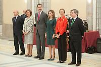 King Felipe VI of Spain, Queen Letizia of Spain, Queen Sofia of Spain and Enfant Elena of Spain attend the 2013 Sports National Awards ceremony at El Pardo palace in Madrid, Spain. December 03, 2014. (ALTERPHOTOS/Victor Blanco)