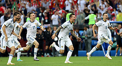 MOSCOW, July 1, 2018  Players of Russia celebrate victory after the 2018 FIFA World Cup round of 16 match between Spain and Russia in Moscow, Russia, July 1, 2018. Russia won 5-4 (4-3 in penalty shootout) and advanced to the quarter-final. (Credit Image: © Yang Lei/Xinhua via ZUMA Wire)