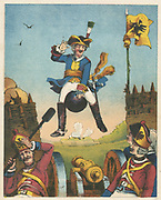 Munchausen, surprising artillerymen by arriving in their midst mounted on a cannon ball. From RE Raspe  'The Travels and Surprising Adventures of  Baron Munchausen', first published 1785. Chromolithograph from a French edition c1850