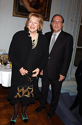SIR HAROLD PINTER and his wife LADY ANTONIA FRASER at a party to celebrate the publication of 'Princesses' the six daughters of George 111 by Flora Fraser held at the Saville Club, Brook Street, London W1 on 14th September 2004.<br />