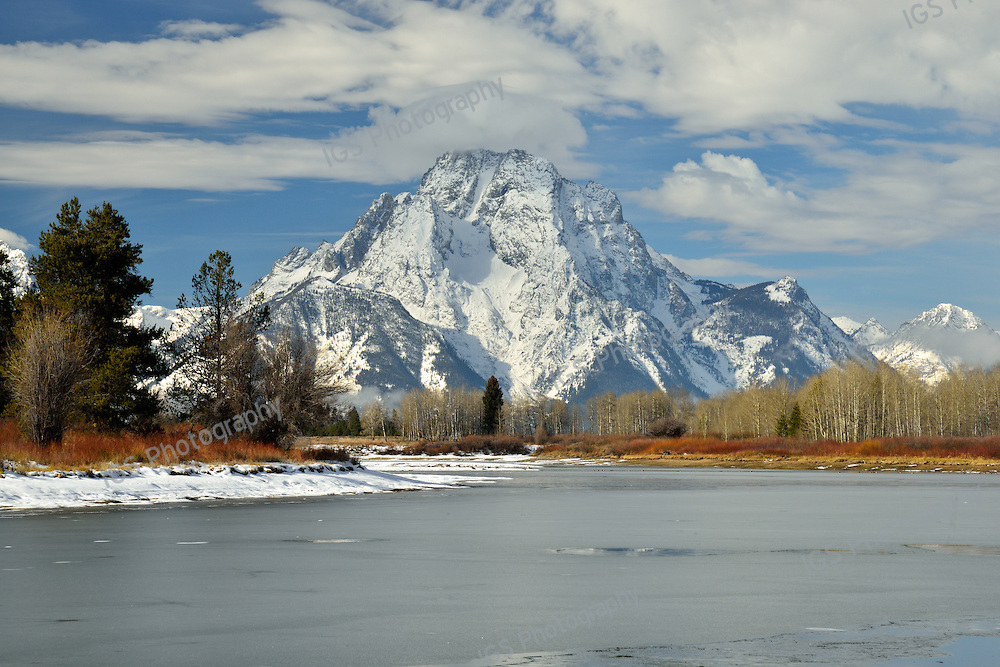 Snow Covered Mount Moran with Frozen Snake River at OxBow Bend,in the Foreground