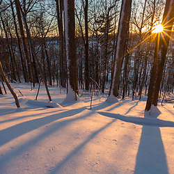 Winter sunset at the Indian Hill Preserve in West Newbury, Massachusetts.