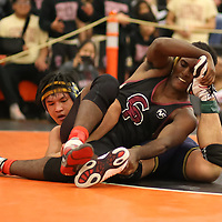 Newud Habtim of Cupertino in the 2018 SCVAL Wrestling Finals(170 lb)(Photo by Bill Gerth)