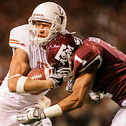 November 26, 2009; College Station, TX USA; Texas A&M cornerback Trent Hunter (1) hits Texas wide receiver Jordan Shipley (8) in the first half at Kyle Field. Mandatory Credit: Thomas Campbell-US PRESSWIRE