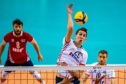 Kruno Nikacevic of Croatia in action during the CEV Eurovolley 2021 Qualifiers between Croatia and Netherlands at Topsporthall Omnisport on May 16, 2021 in Apeldoorn, Netherlands