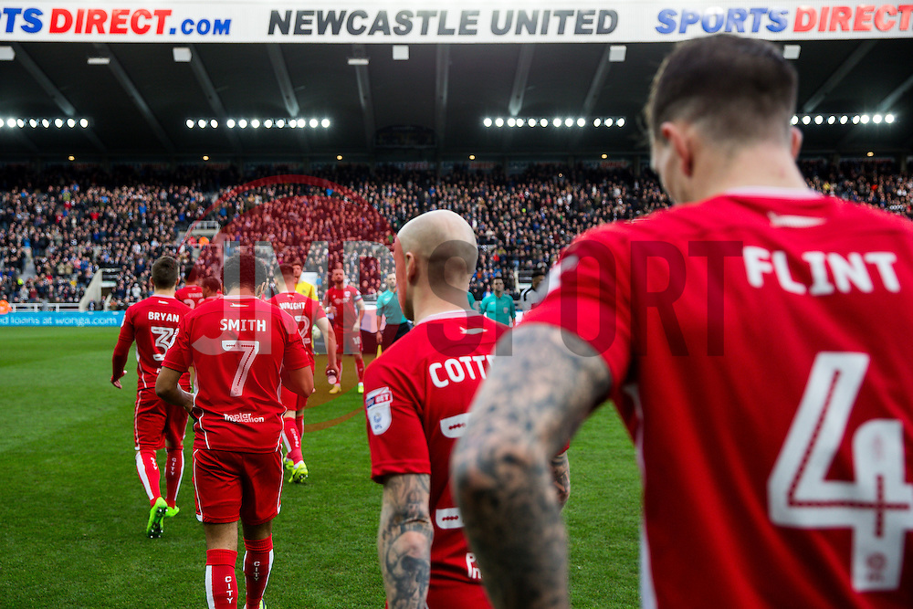 Bristol City come out the tunnel - Rogan Thomson/JMP - 25/02/2017 - FOOTBALL - St James' Park - Newcastle, England - Newcastle United v Bristol City - Sky Bet EFL Championship.