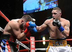 October 20, 2018 - Mashantucket, CT, U.S. - MASHANTUCKET, CT - OCTOBER 20: Edwin Soto  (blue gloves) takes on Anthony Lenk (black gloves) in a Junior Middleweight bout on October 20, 2018, at the Foxwoods Casino in Mashantucket, CT. Anthony Lenk defeats Edwin Soto via decision.  (Photo by Williams Paul/Icon Sportswire) (Credit Image: © Williams Paul/Icon SMI via ZUMA Press)