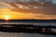 Sunset skies at Freezeout Lake WMA near Choteau, Montana, USA