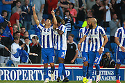 Brighton & Hove Albion winger Anthony Knockaert scores to make it 1-0 during the EFL Sky Bet Championship match between Brighton and Hove Albion and Nottingham Forest at the American Express Community Stadium, Brighton and Hove, England on 12 August 2016. Photo by Bennett Dean.