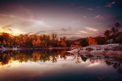 A Foggy Morning Sunrise Looking Our Over Klondike Park Lake in Saint Charles, Missouri