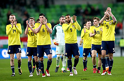 (From left to right) Scotland's Oliver McBurnie, Ryan Christie, Scott McKenna, Matt Phillips, James Forrest and Charlie Mulgrew applaud the fans after winning 1-0 against Hungary at the end of the international friendly match at the Groupama Arena, Budapest.