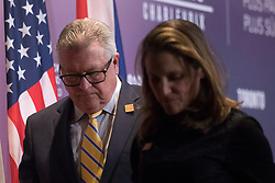 Canada's Minister of Public Safety Ralph Goodale and Canadian Minister of Foreign Affairs Chrystia Freeland step off a stage following a press briefing in Toronto, ON, Canada on Monday, April 23, 2018. Photo by Chris Young/CP/ABACAPRESS.COM