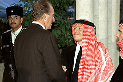 King Abdullah bin Al Hussein (right) receives condolences from King Juan Carlos of Spain during funeral in Amman, Jordan on February 8, 1999. Twenty years ago, end of January and early February 1999, the Kingdom of Jordan witnessed a change of power as the late King Hussein came back from the United States of America to change his Crown Prince, only two weeks before he passed away. Photo by Balkis Press/ABACAPRESS.COM