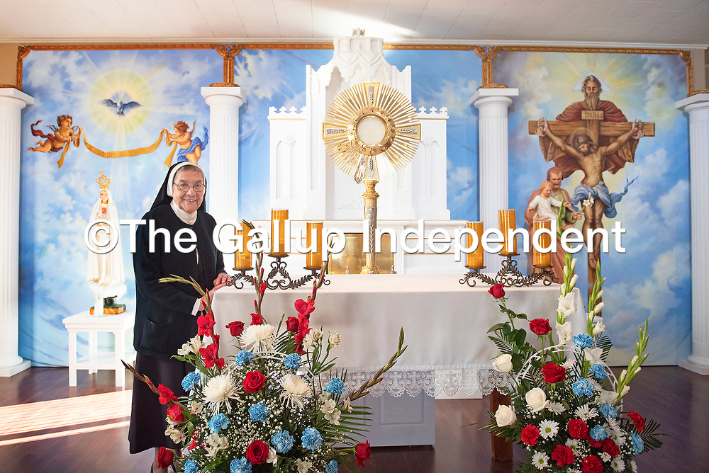 Mother Magda Garcia poses for a portrait in Casa Reina Chapel at the Convent of the Sisters of Our Lady of Guadalupe and St. Joseph on South Puerco Drive in Gallup.