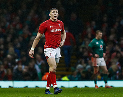 Josh Adams of Wales<br /> <br /> Photographer Simon King/Replay Images<br /> <br /> Six Nations Round 5 - Wales v Ireland - Saturday 16th March 2019 - Principality Stadium - Cardiff<br /> <br /> World Copyright © Replay Images . All rights reserved. info@replayimages.co.uk - http://replayimages.co.uk
