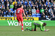 Southampton's Jay Rodriguez (9) celebrates after he scores the 1st goal, as Reading keeper Adam Federici looks on. Barclays Premier league, Reading v Southampton at the Madejski stadium in Reading on Saturday 6th April 2013. pic by Andrew Orchard, Andrew Orchard sports photography,