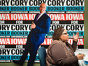 19 DECEMBER 2019 - URBANDALE, IOWA: VICKIE BROWN, a Cory Booker campaign volunteer, makes campaign calls at Sen. Cory Booker's campaign headquarters in Urbandale, a suburb of Des Moines. Sen. Booker, who did not qualify for the December 19 debate in Los Angeles, campaigned in the Des Moines area Thursday and visited the phone bank at his Iowa campaign headquarters. Iowa traditionally holds the first event of the presidential election cycle. The Iowa caucuses at Feb. 3, 2020.             PHOTO BY JACK KURTZ