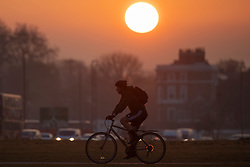 © Licensed to London News Pictures. 20/04/2021. London, UK. A man cycles during sunrise on Blackheath Common in South East London. Temperatures are expected to rise with highs of 16 degrees forecasted for parts of London and South East England today . Photo credit: George Cracknell Wright/LNP