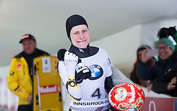 20.02.2016, Olympiaeisbahn Igls, Innsbruck, AUT, FIBT WM, Bob und Skeleton, Damen, Skeleton, 4. Lauf, im Bild v.l. Wolfram Schweizer, Tina Hermann (GER, Goldmedaille) // f.l. Wolfram Schweizer Gold medalist and Worldchampion Tina Hermann of Germany reacts after women Skeleton 4th run of FIBT Bobsleigh and Skeleton World Championships at the Olympiaeisbahn Igls in Innsbruck, Austria on 2016/02/20. EXPA Pictures © 2016, PhotoCredit: EXPA/ Johann Groder