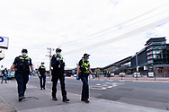 MELBOURNE, VIC - SEPTEMBER 20: Victoria Police officers are seen patrolling the Footscray Market area during the Freedom protest on September 20, 2020 in Melbourne, Australia. Freedom protests are being held in Melbourne every Saturday and Sunday in response to the governments COVID-19 restrictions and continuing removal of liberties despite new cases being on the decline. Victoria recorded a further 14 new cases overnight along with 5 deaths. (Photo by Mikko Robles/Speed Media)