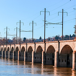 Cement train bridge across the Susquehanna iver in Harrisburg, PA