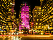 The Helmsley Building lit up in Purple color, New York City.
