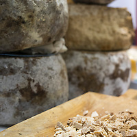 A traditional Sardinian Cheese the  Bussu is displayed at one of the stands of the Biennale del Gusto on October 28, 2013 in Venice, Italy. The Biennale del Gusto is an exhibition held over four days, dedicated to traditional food and drinks from all regions of Italy.