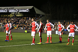 20 February 2017 - The FA Cup - (5th Round) - Sutton United v Arsenal - Granit Xhaka of Arsenal and his team mates look on as they await a corner kick - Photo: Marc Atkins / Offside.