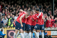 The York City players celebrate Jon Parkin (York City) goal, which means they draw level. 2-2 during the Vanarama National League match between York City and Forest Green Rovers at Bootham Crescent, York, England on 29 April 2017. Photo by Mark PDoherty.